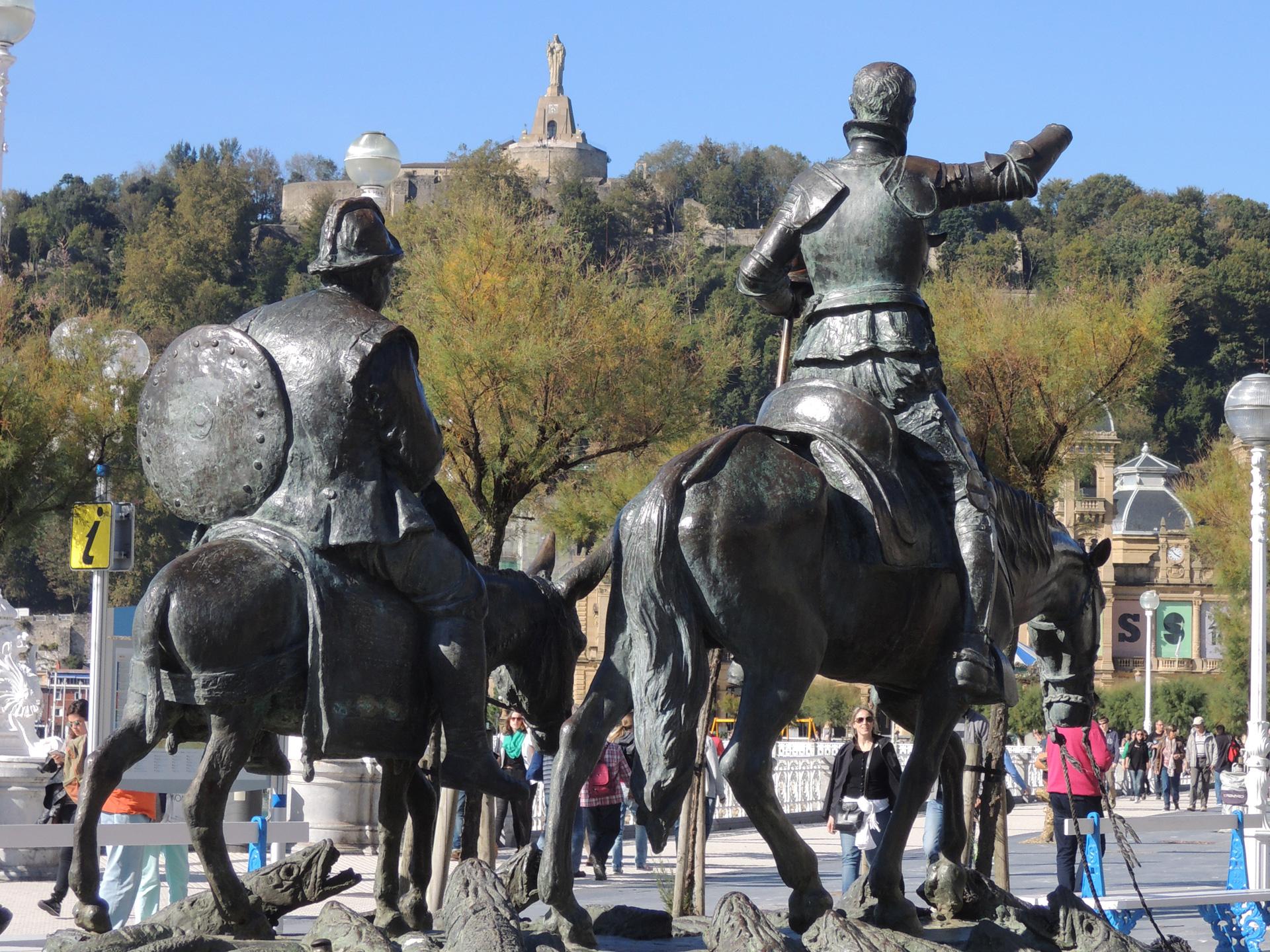 Don Quichot en Sancho Panza in San Sebastian