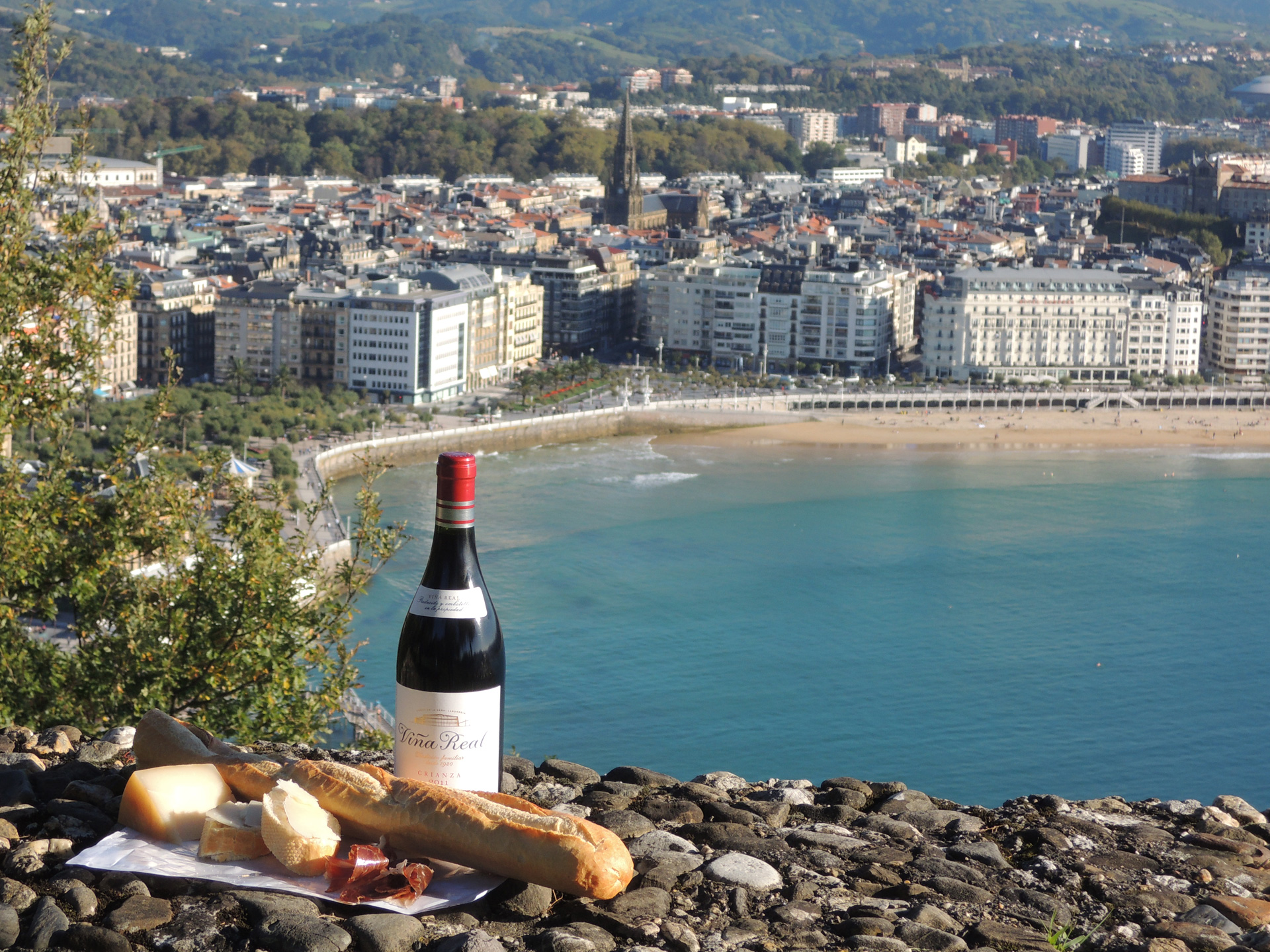 Picknick op Monte Urgull met uitzicht op San Sebastian